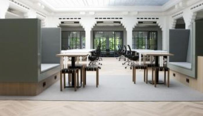 herringbone office floor